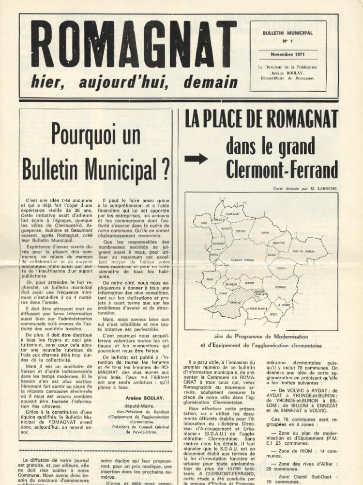 Bulletin municipal n°1 – 1971