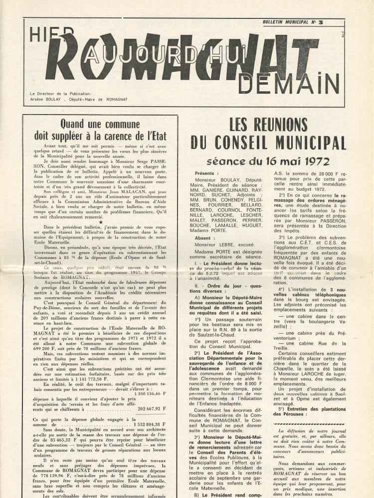 Bulletin municipal n°3 – 1972