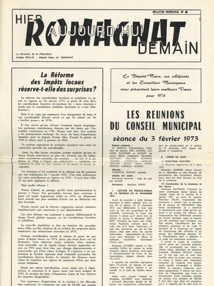 Bulletin municipal n°4 – 1973
