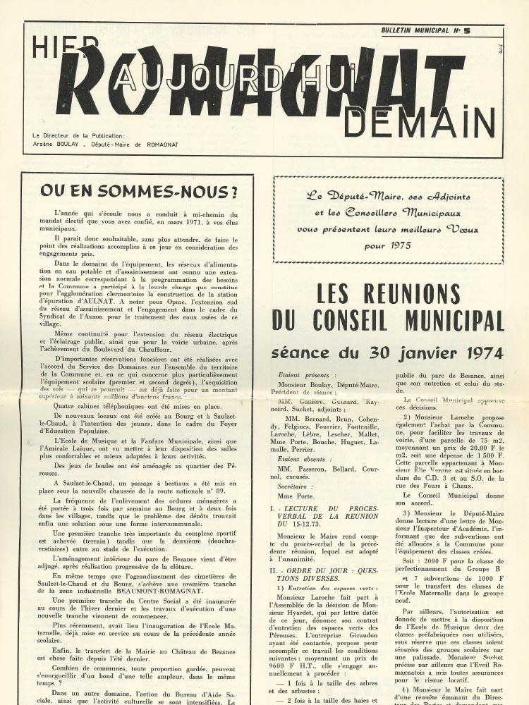 Bulletin municipal n°5 – 1974