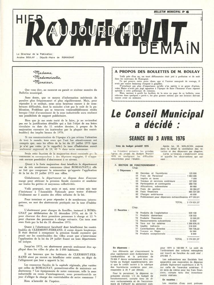 Bulletin municipal n°6 – 1976