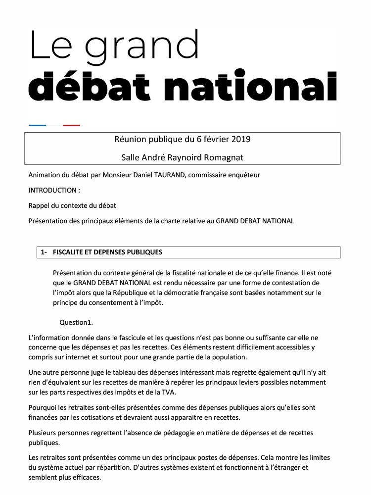 Grand débat national – reunion du 6 février