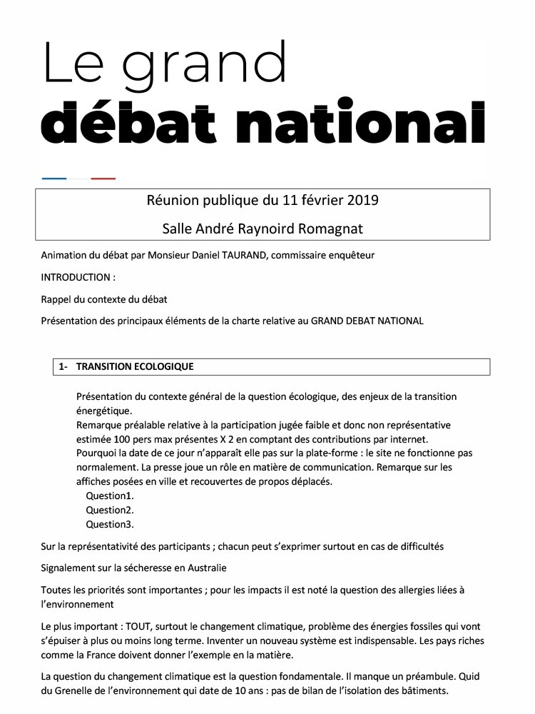 Grand débat national – reunion du 11 février