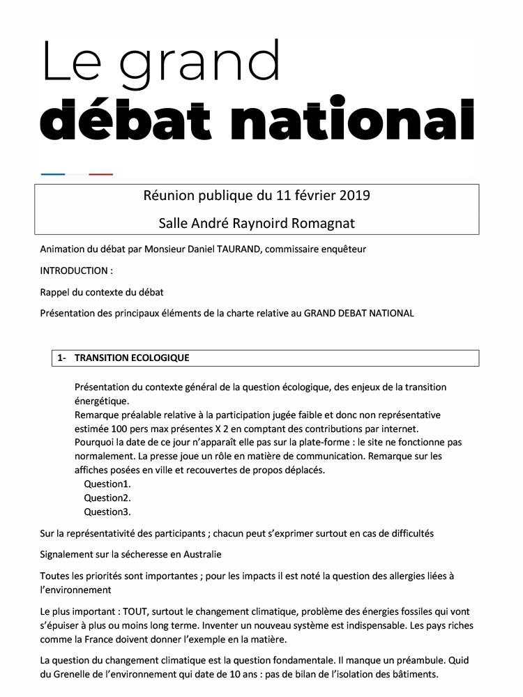 Grand débat national – reunion du 11 février