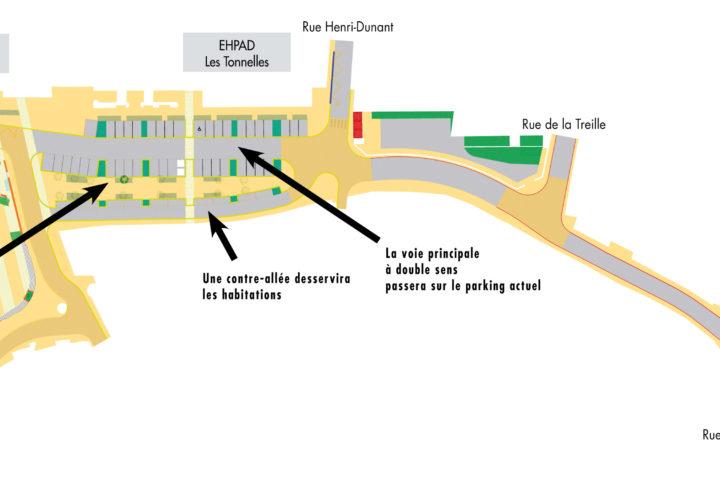 Plan du futur aménagement de la place François-Mitterrand